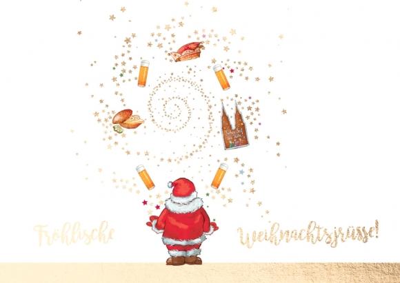Doppelkarte: jonglierender W.-mann - Fröhlische Weihnachtsjrüsse!