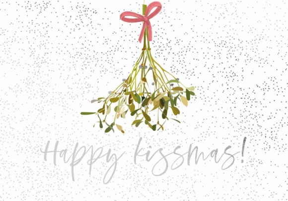 Doppelkarte: Happy Kissmas - Mistelzweig