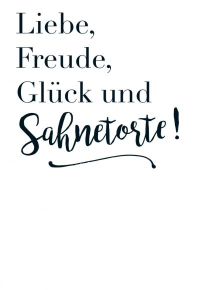 Postkarte: Liebe, Freude, Glück und Sahnetorte!