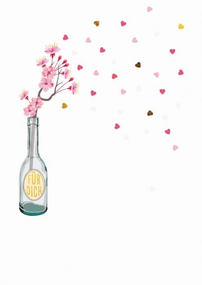 Postkarte: Für dich. Flasche mit Kirschblüten