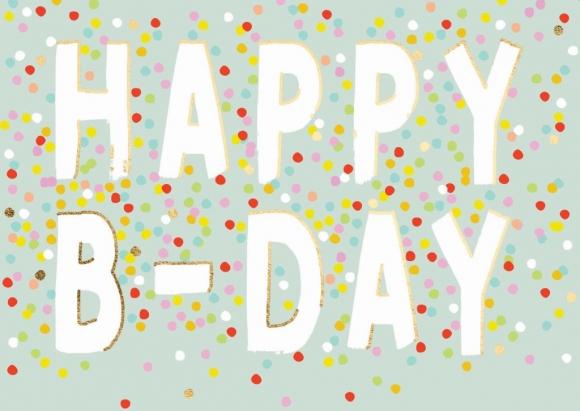 Doppelkarte: Happy B-Day - Konfetti
