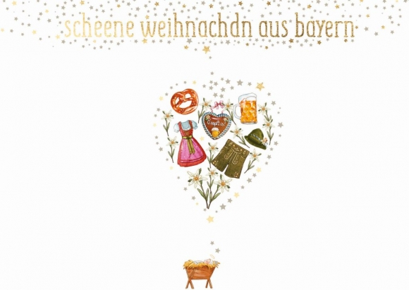 Postkarte: scheene weihnachdn aus bayern - Herz