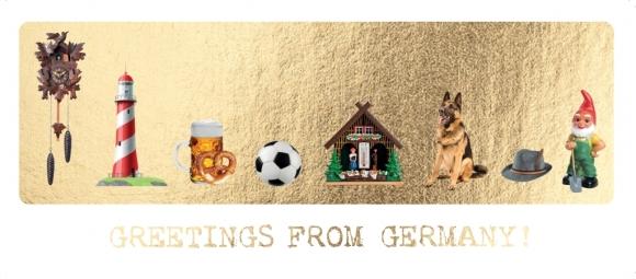 Postkarte: Greetings from Germany - Deutsche Elemente auf Gold