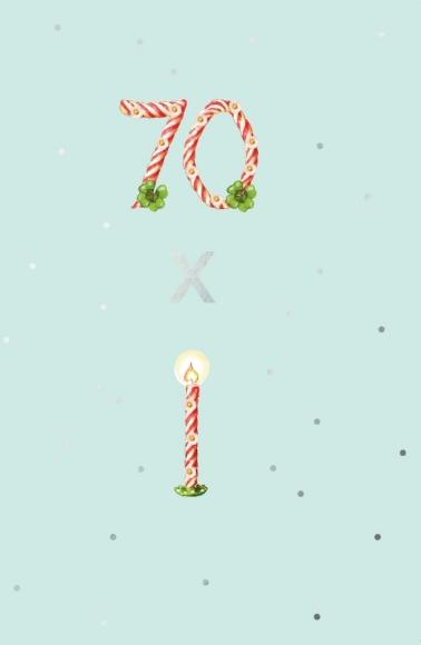 Doppelkarte: 70. Geburtstag - 70 x Kerzen