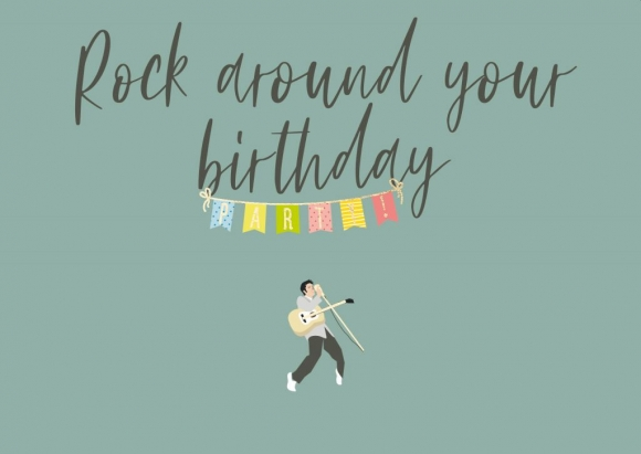 Postkarte: Rock around your birthday