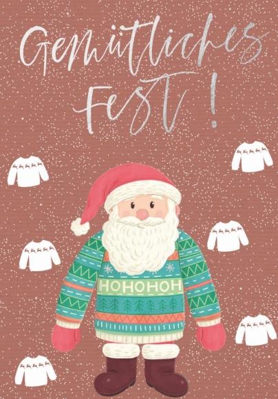 Doppelkarte: Gemütliches Fest - Weihnachtsmann