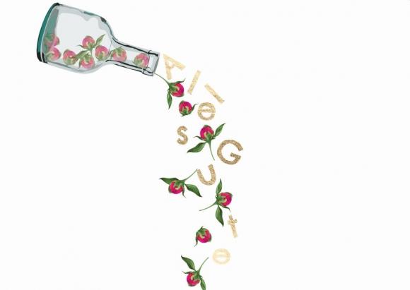 Doppelkarte: Alles Gute. Flasche mit rollenden Blüten.