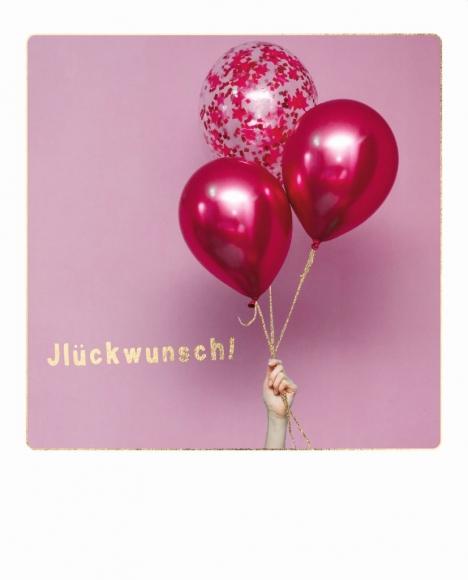 Postkarte: Jlückwunsch. Rote Ballons.