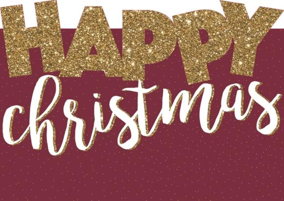 Postkarte: Happy Christmas, gestanzt