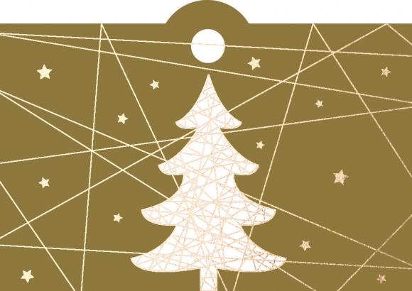 Geschenkanhänger: Weihnachtsbaum mit Linien