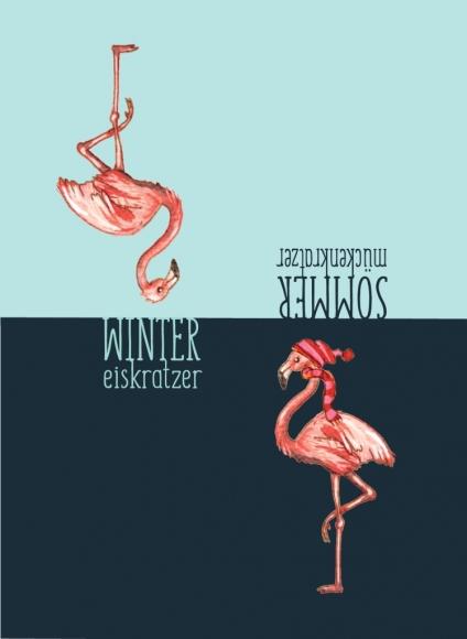 Eiskratzerkarte: Flamingo - Wintereiskratzer / Sommermückenkratzer