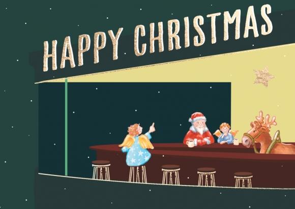 Doppelkarte: Weihnachtsmann, Engel, Rentier in der Bar