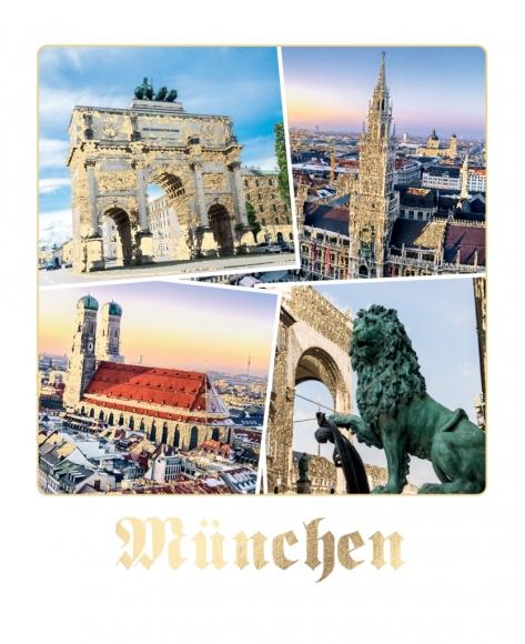 Postkarte: München mit Löwe