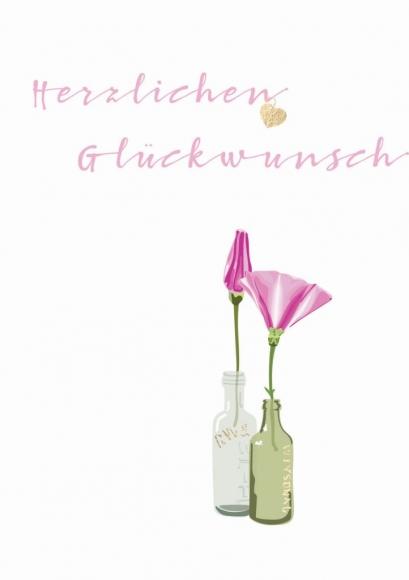Doppelkarte: Herzlichen Glückwunsch. 2 Flaschen.