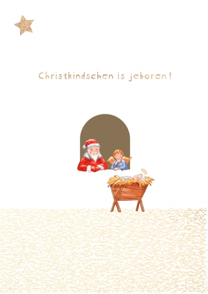 Postkarte: Christkindschen is jeboren!