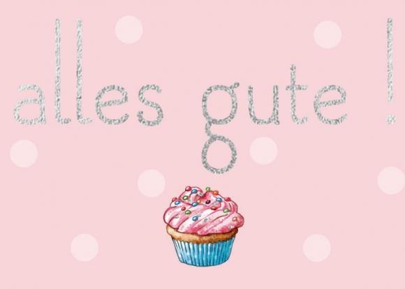 Mini-Doppelkarte: Alles Gute - Muffin