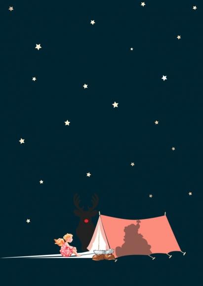 Postkarte: Weihnachtsmann im Zelt