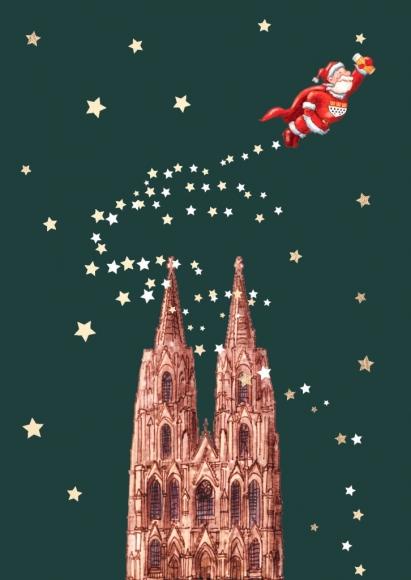 Postkarte: Dom mit Super-Weihnachtsmann
