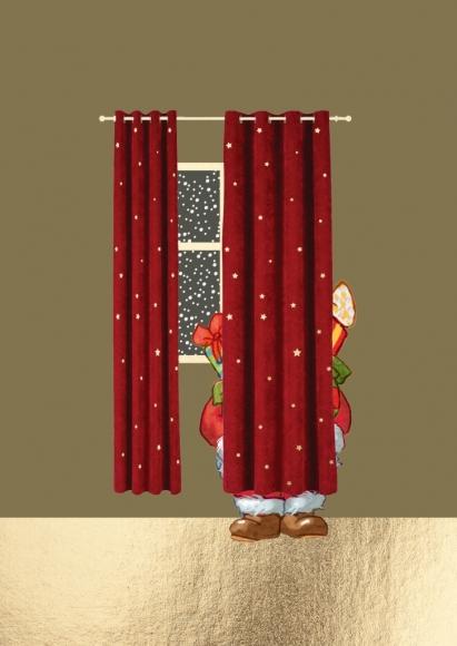 Postkarte: Weihnachtsmann hinter Vorhang