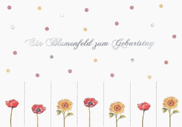 Postkarte: Ein Blumenfeld zum Geburtstag