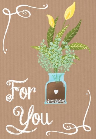 Doppelkarte: Blumen im Glas For You