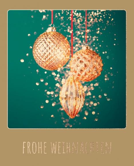 Doppelkarte: Weihnachtsbaumkugeln - Frohe Weihnachten