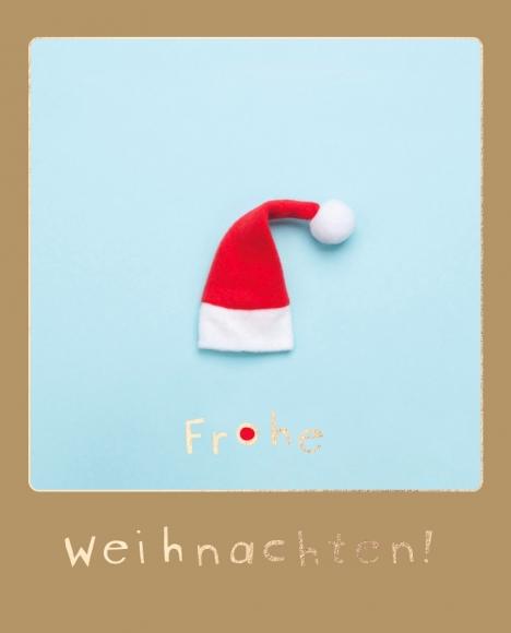 Postkarte: Weihnachtsmannmütze - Mütze - Frohe Weihnachten