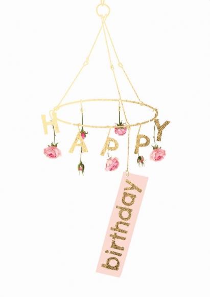 Doppelkarte: Happy Birthday - Rosen-Mobilé