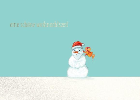 Postkarte: Eine schöne Weihnachtszeit - Schneemann