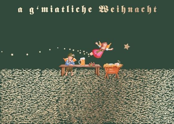 Postkarte: Engel am Tresen - a g'miatliche Weihnacht