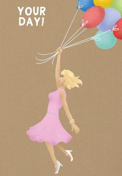 Doppelkarte: Your Day - Frau mit Luftballons