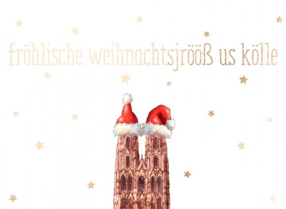 Doppelkarte: fröhlische weihnachtsjrööß aus kölle