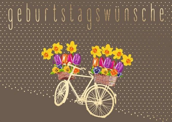 Postkarte: Fahrrad mit Blumen - Geburtstagswünsche