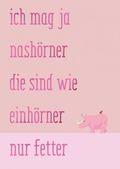 Postkarte: Ich mag ja Nashörner die sind wie Einhörner