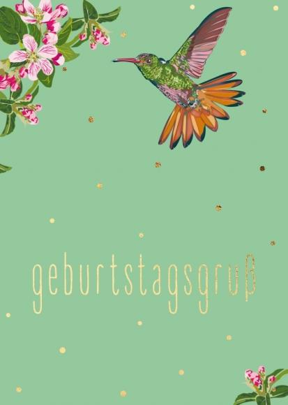 Doppelkarte: Kolibri, Apfelblüte - Geburtstagsgruß