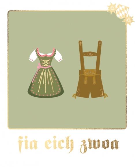 Postkarte: fia eich zwoa