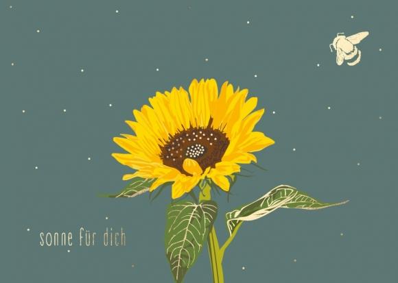 Postkarte: Sonnenblume - Sonne für Dich