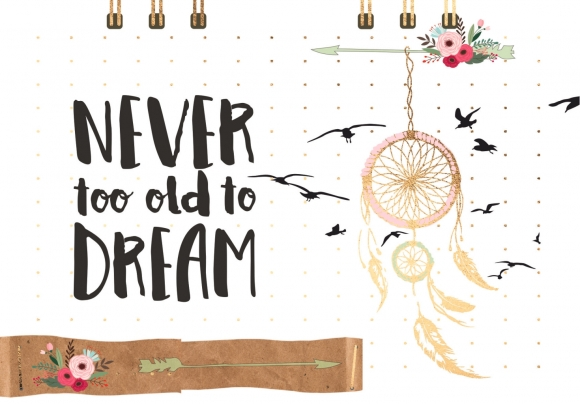 Postkarte: Never too old to dream