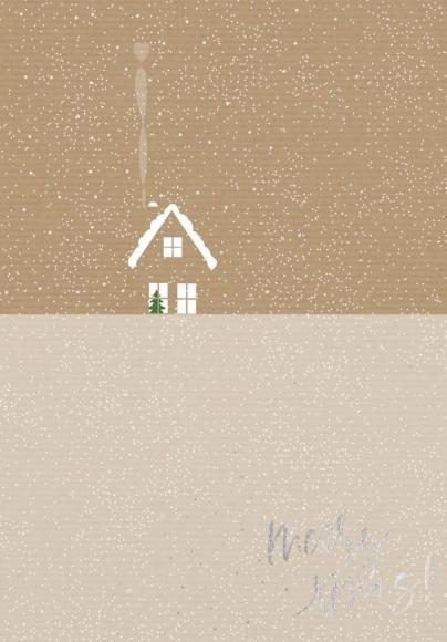 Doppelkarte: merry xmas und Häuschen