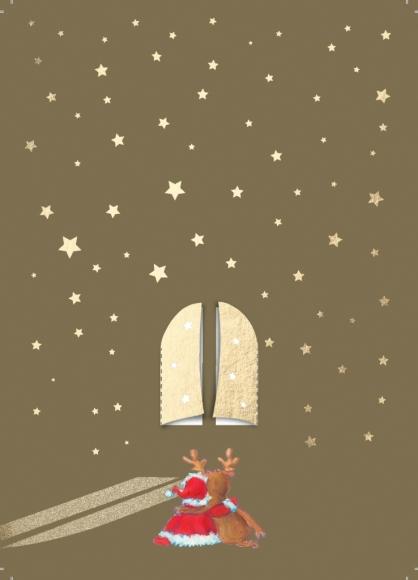Postkarte: Rentier und Weihnachtsmann vor einem Fenster