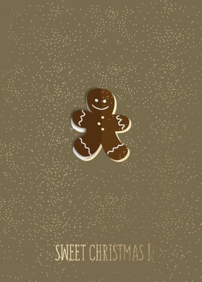Postkarte: Sweet Christmas - Lebkuchenmann