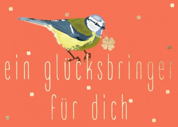 Postkarte: Meise - Glücksbringer für dich