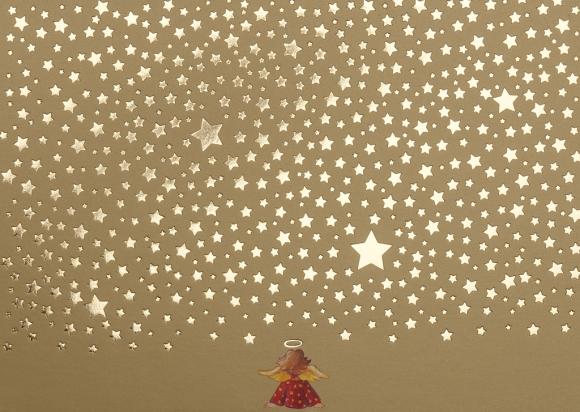 Postkarte: Engel unter Sternenhimmel