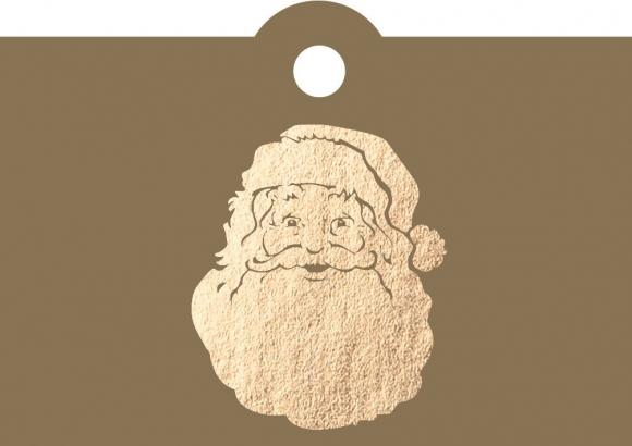 Geschenkanhänger: Weihnachtsmann - goldener Kopf