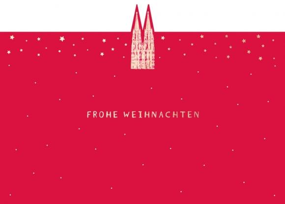 Postkarte: kleiner goldener Dom auf rot - Frohe Weihnachten