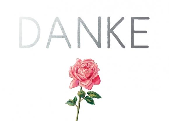 Mini-Doppelkarte: Danke - Rose
