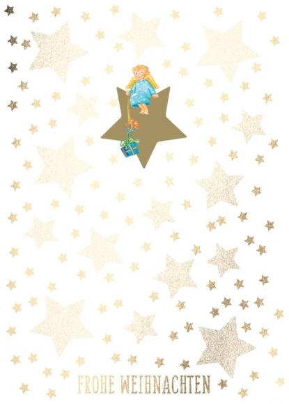 Doppelkarte: Frohe Weihnachten - Engel mit Geschenken