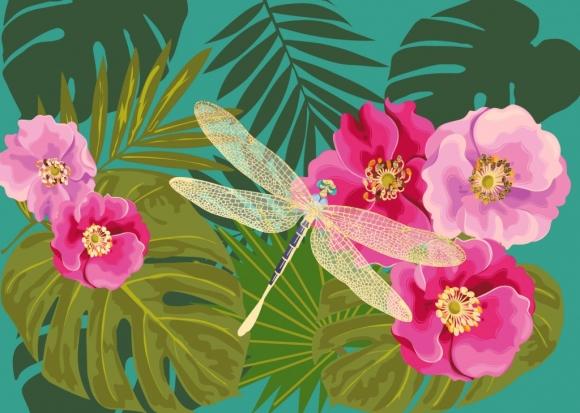 Postkarte: Libelle mit Urwald