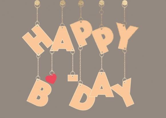 Postkarte:Happy B-Day an Kettchen