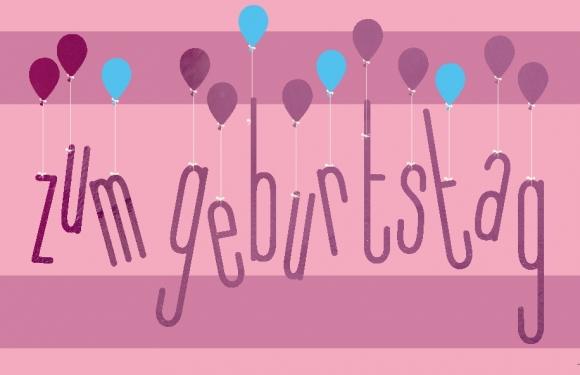 Mini-Doppelkarte: Zum Geburtstag - Luftballons